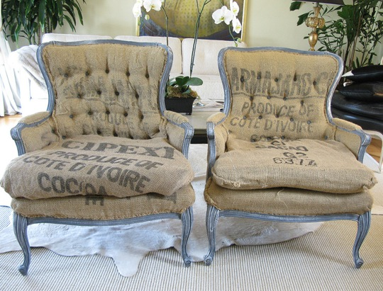 Hereu0027s A Beautiful Pair Of Very French Looking Burlap Chairs. Will Be  Keeping The U0027ole Eye Out At The Thrift For Some Similar Chairs That I Can  Transform!